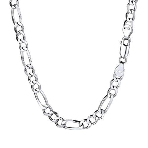 PROSTEEL 5mm 925 Sterling Silver Italian Figaro Link Chain Necklace 5mm Men Women Kids Chain Layering Necklace Cord 24'' - 24' Sterling Silver Necklace