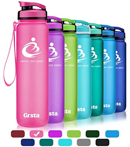 Grsta Sport Water Bottle 28oz(800ml), Wide Mouth Leak Proof BPA Free Eco-Friendly Plastic Drink Best Water Bottles for Outdoor/Running/Camping/Gym w Flip Top Lid & Filter Open with 1-Click(Pink) ()