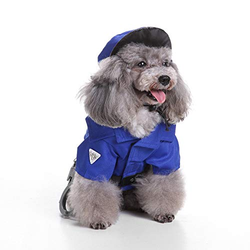 Unicool Dog Costume for Small Medium Large Dogs-Halloween Xmas Policeman Cosplay Series with Hat - Perfect for Pets Show Carts Events Celebrating Cosplay Set (M) -