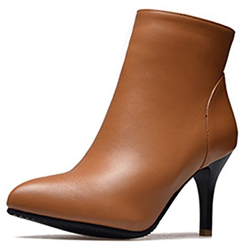 Idifu Mujeres Trendy High Stiletto Heel Pointed Toe Zip Up Botines Cortos Amarillos