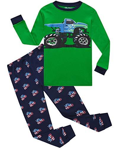 Boys Pajamas Long Sleeve 100% Cotton Toddler Pjs Kids Clothes Pants Set 2T Green