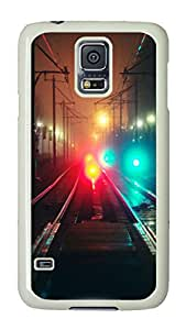 VUTTOO Rugged Samsung Galaxy S5 Case, Train Traffic Night Lights Hardshell Case for Samsung Galaxy S5 I9600 PC White