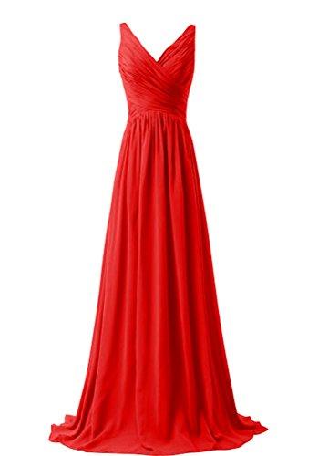 WeiYin Women's Chiffon V-neck Sleeveless Bridemaid Dresses Red US 26W (Red Bridesmaid Dresses Size 26)