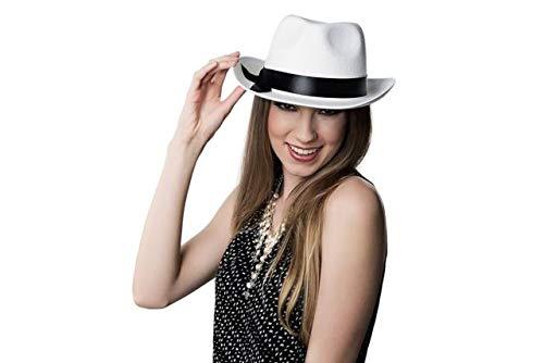 Kangaroo White Felt Gangster Mobster Fedora Hat