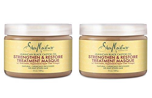 Shea Moisture Jamaican Black Castor Oil Strengthen & Restore Treatment Masque, 12 Oz, pack of 2