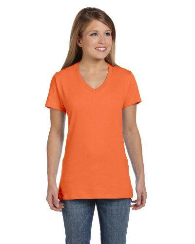 Hanes Ladies Ringspun Cotton nano-T V-Neck T-Shirt, XL, VINTAGE ORANGE