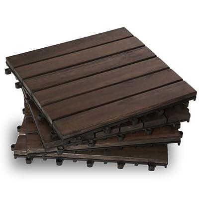 Garden Winds DT01-DB Six Slat Deck Tiles, Mahogany, 10 Count