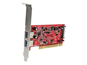 StarTech.com 2 Port PCI SuperSpeed USB 3.0 Adapter Card with SATA Power PCIUSB3S22, Red