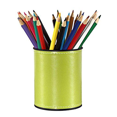 ns Pencils Holder Pu leather Desk Organizer Office Desk Accessories (Green) ()