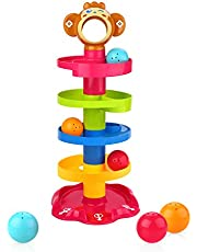 Peradix Baby Swirl Ball Ramp Ball Drop Toys for 1 - 2 Year Old Girl Boy Toddlers Educational Puzzle Rolling Ball Tower Bell Stacker for Kids Activity Center Games