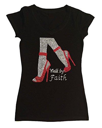 Faith Womens Cap Sleeve T-shirt - Womens T-shirt with Walk by Faith in Rhinestones (3X, Black Cap Sleeve)