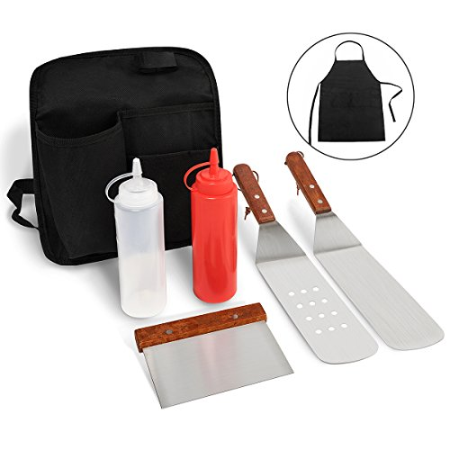 Monbix PP-70707 7 Pieces Grill Griddle Accessories - Stainless Steel Grill Griddle BBQ Kit with Apron and Belt Bag for Storage, Great for Flat Top Cooking, Grilling, and Camping