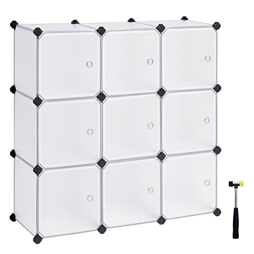 SONGMICS Cube Storage, DIY Plastic Cube Organizer Units, Modular Closet Cabinet with Doors for Clothes, Shoes, Toys, Book for Bedroom, Living Room,Office, with Rubber mallet White 9-cube ULPC116WS (Modular Shelving System)