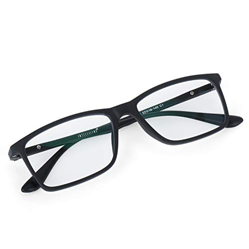Intellilens® Square Unisex Blue Cut Spectacle with Anti-glare for Eye Protection – ( Zero Power, Black, Standard Size )