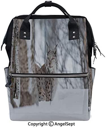 Backpack Waterproof Large Capacity,European Lynx Snowy Cold Forest Norway Nordic Country Wildlife Apex Predator Light Brown White,15.7 inches,Travel Back Pack Nappy Bags Organizer