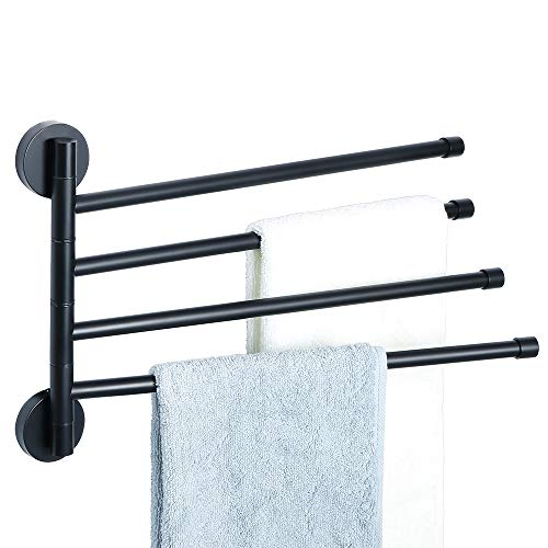 Alise Swing Out Towel Bar 4-Bars Folding Arm Swivel Hanger Bathroom Towel Rack Space Saving Wall Mount,SUS304 Stainless Steel Matte Black