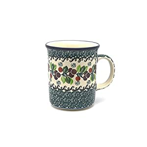 Polish Pottery Mug – Big Straight Sided – Burgundy Berry Green