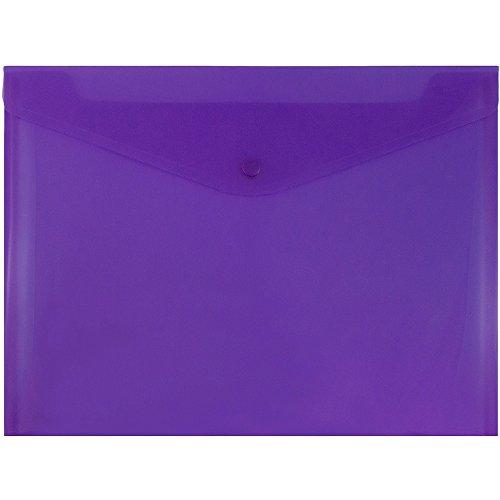 JAM PAPER Plastic Envelopes with Snap Closure - Letter Booklet - 9 3/4 x 13 - Purple - 12/Pack