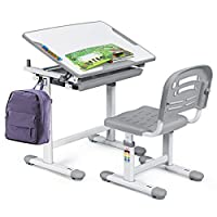 Baby Joy Kids Desk and Chair Set, Height Adjustable, 0-40 Degree Table Top Adjustable Tilt for Painting, Pull Out Spacious Storage Drawer, Kids Study Table, School Study Workstation