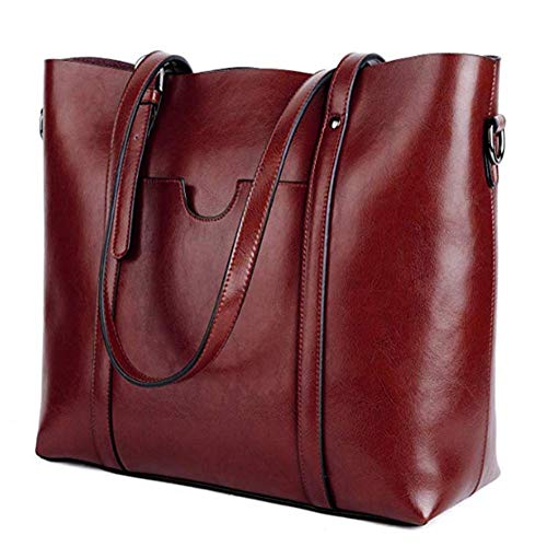 Women's Leather Work Tote Vintage Style Soft Shoulder Bag Large Purse Handbag (Coffee)