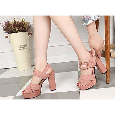 LvYuan Mujer Sandalias Confort PU Verano Casual Paseo Confort Hebilla Tacón Robusto Negro Beige Rosa 7'5 - 9'5 cms beige