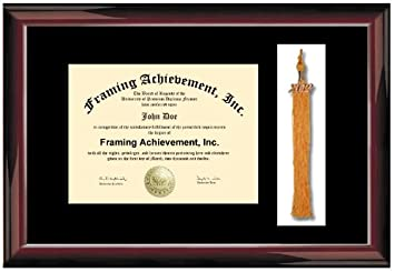 tassel diploma frame premium wood glossy traditional mahogany single black mat college diploma