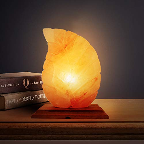 A-Star(Tm) Himalayan Hand Carved Salt Lamp with Genuine Wood Base, Bulb and Switch (Leaf) -