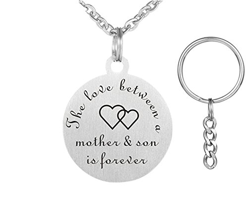 Keychain Engravable Gift (LF Personalized Mother and Son Necklace Key ring - Stainless Steel Sentimental Name Customized Engravable Round Tag Keychain Pendant Necklace for Mom from Son for Mothers Day Gift)