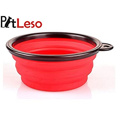 Pet Leso Pop-up Collapsible Pet Bowl Travel Bowl Water Feeder Bowl Dog Cat Portable Bowl -Red