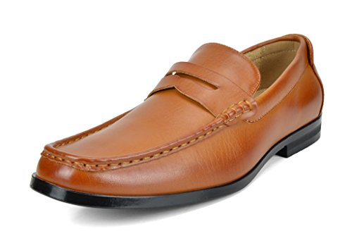 BRUNO MARC MODA ITALY HARRY-02 Men's Dress Classic Leather Lining Slip On Casual Penny Loafers shoes Tan SIZE (Tan Casual Loafers)