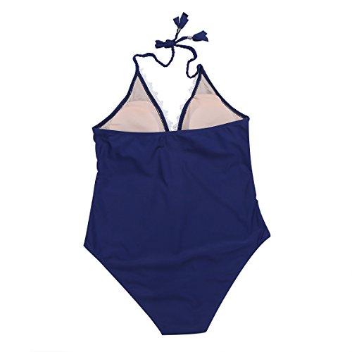 iEFiEL Bañador de Una Pieza para Mujer Chica Traje de Baño Deportivo Tankini con Relleno Push Up Azul