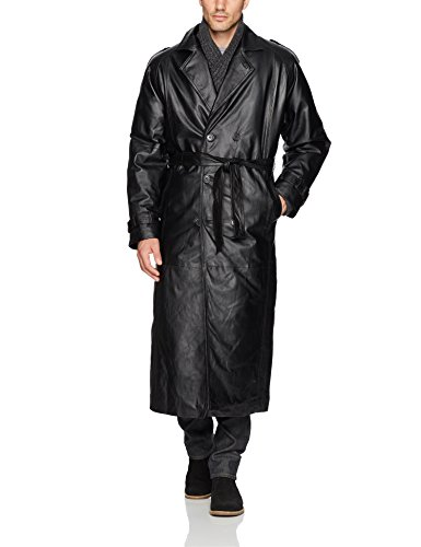 Design Leather Trench Coat (Excelled Men's Leather Trench Coat, Black, Medium)