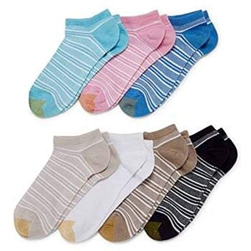 (Gold Toe Women's Free Feed Soft Low Cut Socks (6 Pair Pack), Striped, Shoe Size: 6-9)