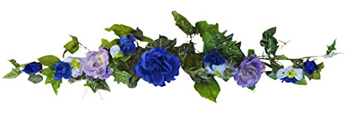 38'' Blue Rose Swag by V-Max Floral Decor