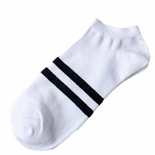 White Stripe Ankle Socks (Chartsea Unisex Comfortable Stripe Cotton Sock Slippers Short Ankle Socks (White))