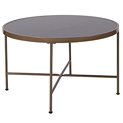 Flash Furniture Chelsea Collection Black Glass Coffee Table with Matte Gold Frame