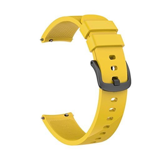 YRD Tech Large Replacement Band Strap Wristband Bracelet for Ticwatch E Watch Silica Band Wrist 20 mm (Yellow, S:180 mm) ()