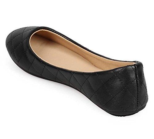 Aktualisieren DEMI-05 Damen Runde Zehe Ballerinas Patent schwarz