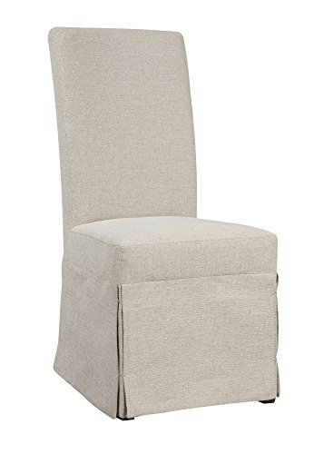 Upholstered Parson Chair Classic (Emerald Home Paladin Rustic Charcoal and Buff Linen Upholstery, Gunmetal Gray Harware Upholstered Dining Chair with Skirted Base, Set of Two)