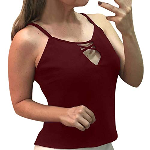 Sexy Blouse for Women, Outeck Tummy Control Summer Casual Hollow Spagehtti Strap Tank Top Solid Color Top Shirt (XL, Wine Red) ()