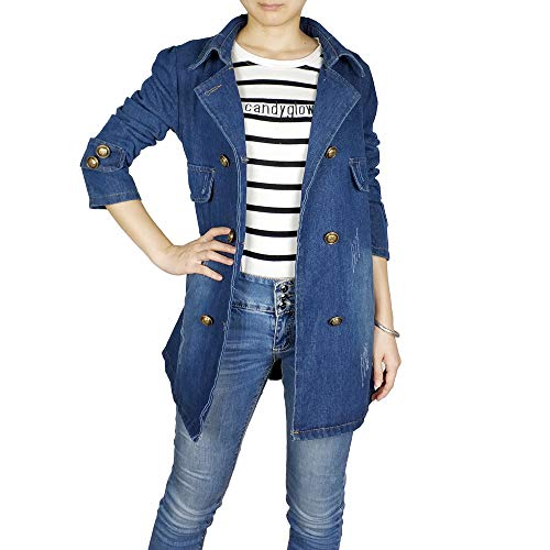 Kaachli Women's Cotton Denim Blue Notch Lapel Coat Double Breasted Outerwear Jackets (L, Blue02)