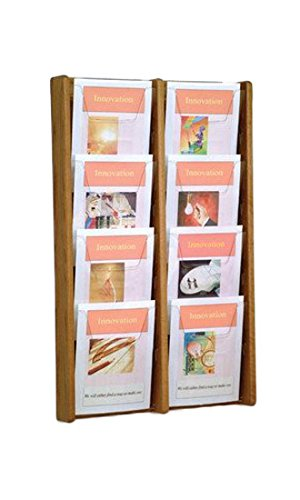 Wooden Mallet 8-Pocket Stance Wall Display, Medium Oak - Pamphlet Pocket Wood Display Rack