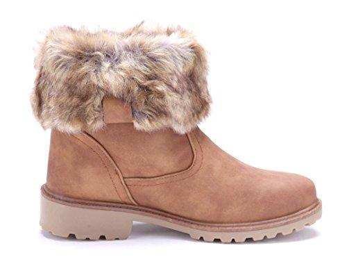 Schuhtempel24 Damen Schuhe Winterstiefeletten Stiefel Boots Blockabsatz Schlupf 3 cm Camel