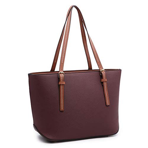 (XB Laptop Tote Bag Fits Up to 13.3'' Lightweight Work Tote Bag Women's Top Handle Satchel Handbags Purse Tote Shoulder Bag (Wine))