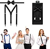 McWay Bowtie and Suspender Set For Men, Adults | Premium Quality | With Gift Box | Wide And Adjustable | Classy Design (Black)