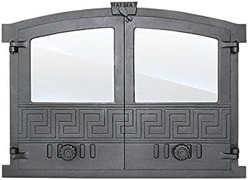 Puerta de horno para pizza o horno de madera de hierro fundido con placa de horno, dimensiones exteriores: 600 x 430 mm, dirección de apertura: doble hoja