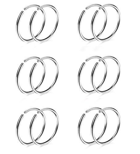 Clip Silver Ring - Thuanaraz Thunaraz 6 Pairs Non Pierced Stainless Steel Fake Nose Ring Septum Lip Helix Cartilage Tragus Ear Clip Hoop Rings 20G Silver-tone