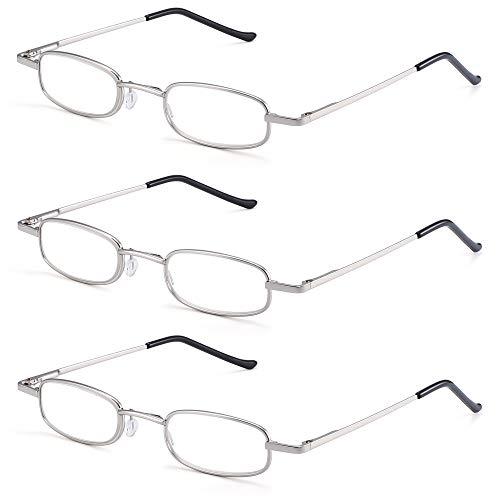 929a21e5d2d JM 3 Pack Slim Compact Reading Glasses Pocket Readers Men Women with Clip  Case +3.5