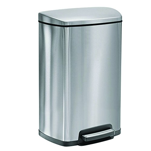 Tramontina Step Trash Can, Stainless Steel, Gray (13 gal) Two freshener cartridges included