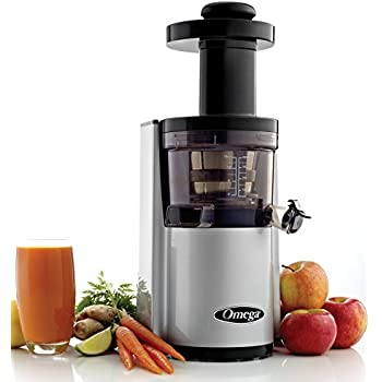 Omega VSJ843RS Vertical Slow Masticating Juicer Makes Continuous Fresh Fruit and and Vegetable Juice at 43 Revolutions per Minute Features Compact Design Automatic Pulp Ejection, 150-Watt, Silver